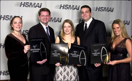 Bryan Allison and Dan Hipler of VEGAS.com accept Four HSMAI Awards in New York along with the New York based pr team last night.