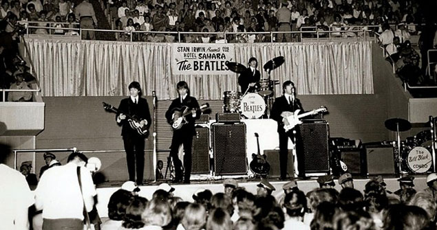 The Beatles performin Las Vegas in 1964