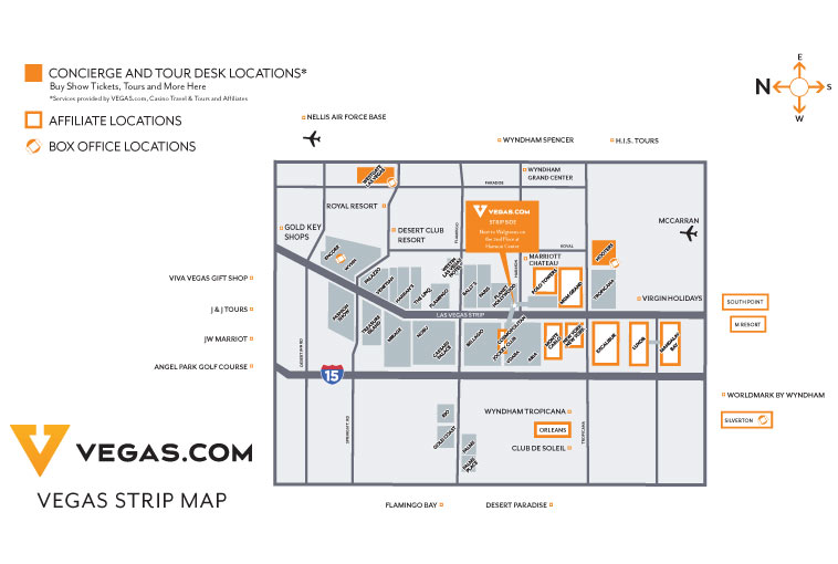Vegas.com Concierge Locations map