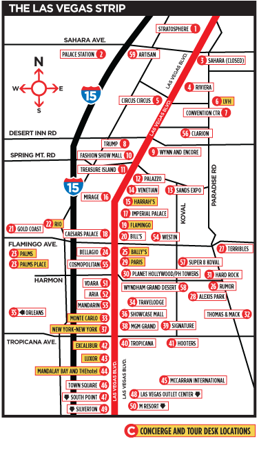 map of las vegas hotels on the strip. Las Vegas Map