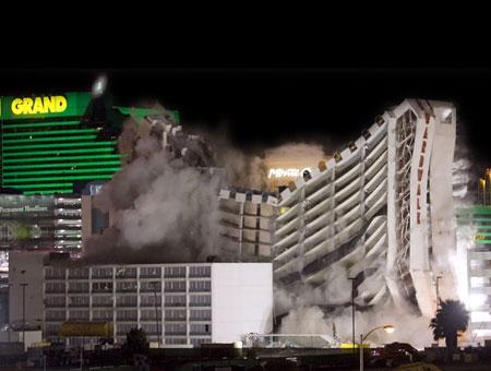 Casino demolition explosion hotel implosion las nevada strip vegas qwest slot machines
