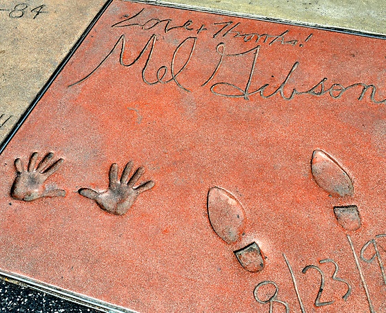 Mel Gibson's handprints at Mann's Chinese Theater