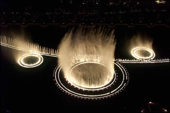 Bellagio fountains at night (aerial view)