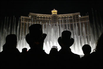 Bellagio fountains on New Year's Eve